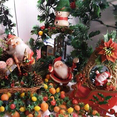 Lot VTG Plastic Blow Mold Fruit, Mushrooms Christmas Garland, Windchill, SANTA,