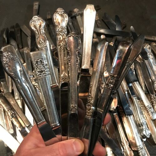 10 - KNIVES  SILVER PLATED HOLLOW HANDLES (many lots avail) art craft jewelry