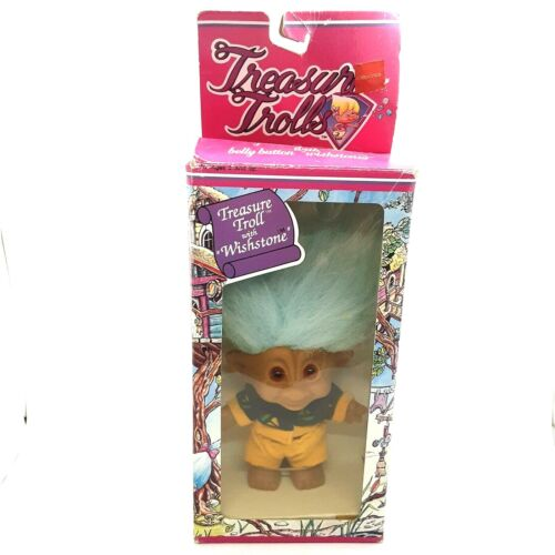 Treasure Troll w/ Wishstone Blue Hair Ace Novelty Co NOS in Box (Box Has Wear)