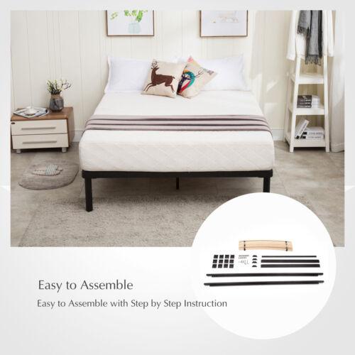 full size metal bed frame platform wood