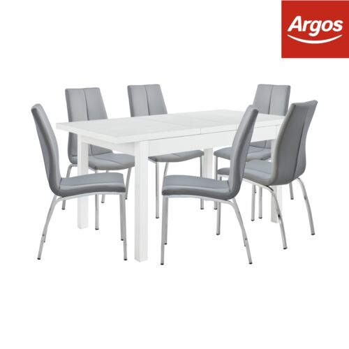 Argos White Dining Table And 6 Chairs: Argos Home Lyssa Extendable 150cm Dining Table & 6 Milo
