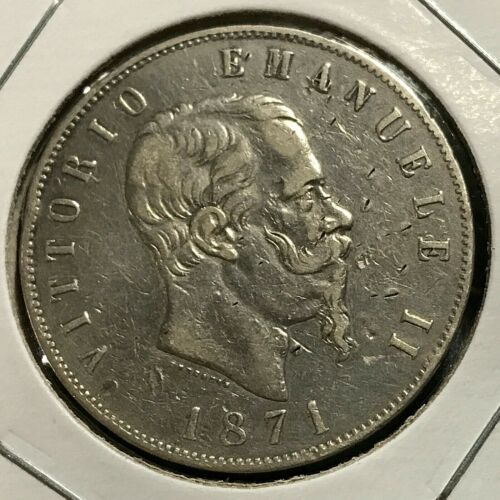 1871-M ITALY SILVER 5 LIRE NICE CROWN COIN
