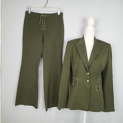 Vertigo  2-piece pant suit size M jacket olive green stretch blazer