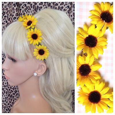 YELLOW SUNFLOWER GARLAND FLOWER CROWN STRETCH HAIR FOREHEAD HEADBAND FESTIVAL