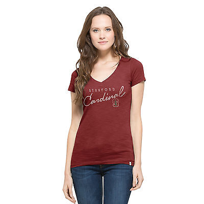 Ncaa Womens Stanford University Retro Logo Cotton V Neck T Shirt By 47