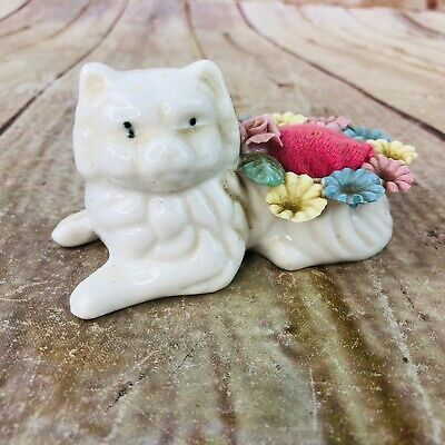 Cute Porcelain Cat//Kitty//Kitten Sewing Thimble Sterling Silver