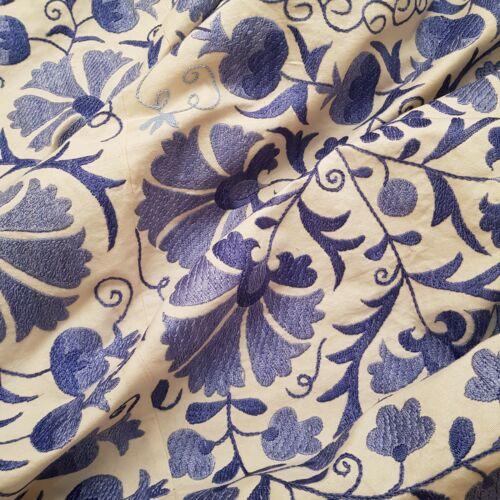 Uzbek blue suzani.Hand embroidered blue bedspread.Boho wall hanging,tablecloth.