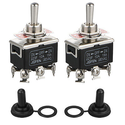2pcs Black 6pin Dpdt Heavy Duty Boot Cap Dpdt Momentary Toggle Switch Onoff Amp