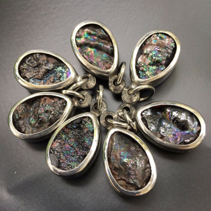 leklai pendant 7 pc umklum iridescent rainbow  hematite natural stone amulet 71g
