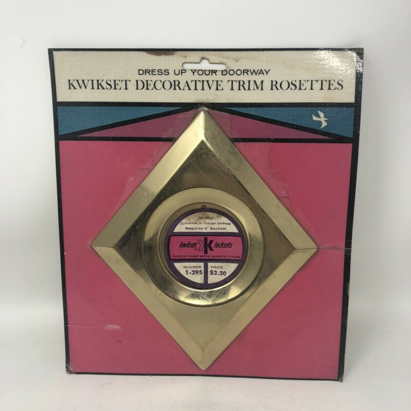 Vintage 1963 Kwikset Mid Century Decorative Brass Door Knob Trim Rosette Diamond