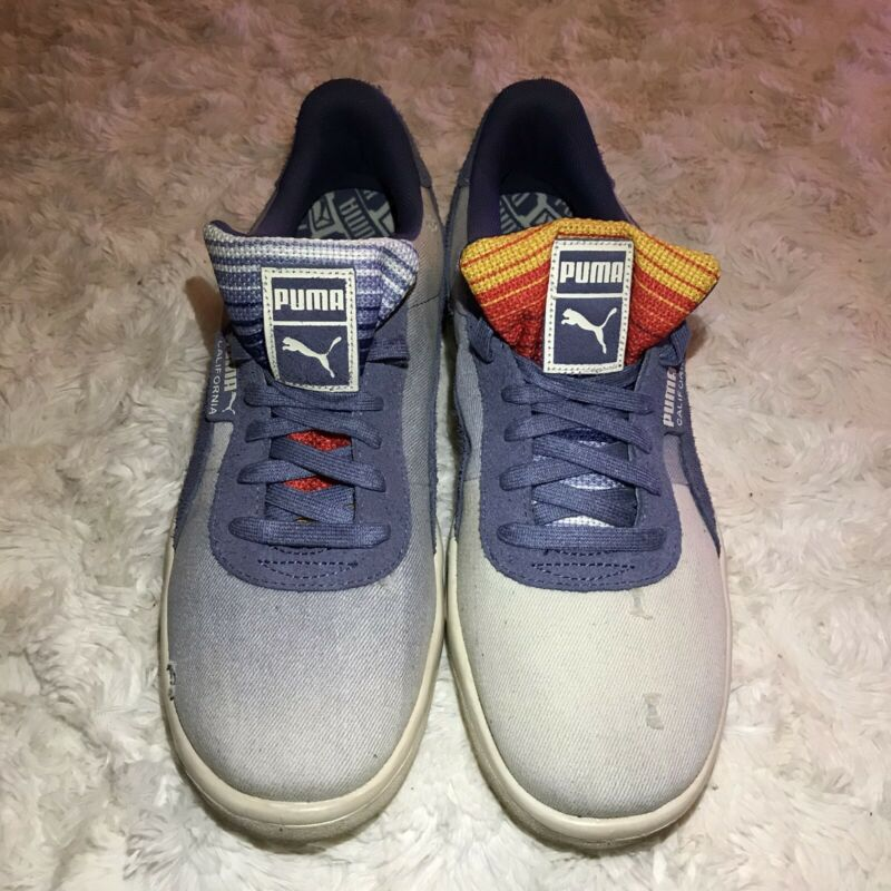 Puma California Mens Shoes Denim Dark Vintage Distressed Blue 369933_01 size 10