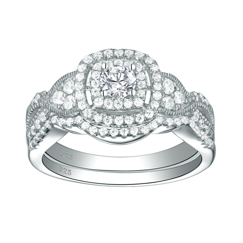 Wedding Rings Set For Women Round Aaaa Cz Engagement Ring Set Sterling Silver