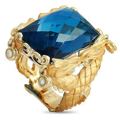 Carrera y Carrera Nanking 18K Yellow Gold 0.07 ct Diamond and Blue Topaz Ring