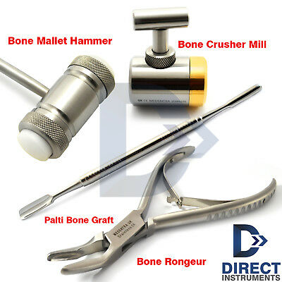 Dental Bone Graft Instruments Set Bone Crusher Mill Mallet Bone Rongeur Forceps