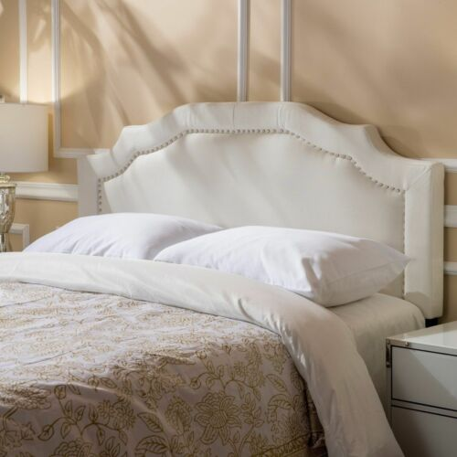 Kiera Ivory Fabric Queen/ Full Headboard Beds & Mattresses
