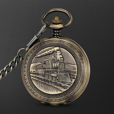 Mechanical Pocket Watch Black Dial Retro Train Pattern Roman Numeral Skeleton Black Roman Numeral Pocket Watch