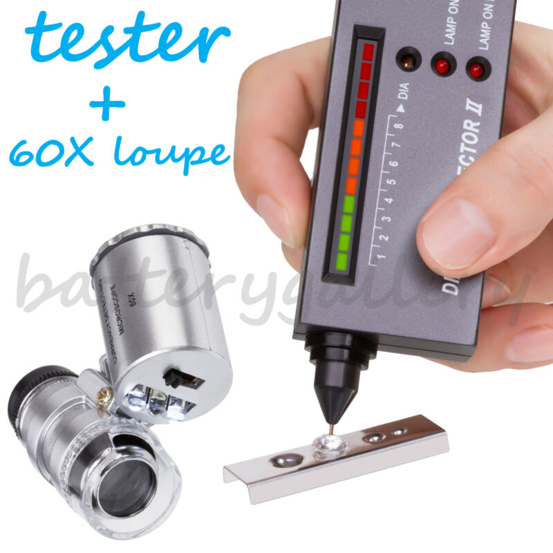 Jeweler diamond tool kit : Portable Diamond Tester - 60X Illuminated Loupe
