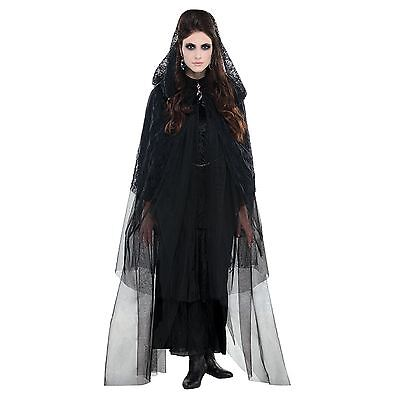 Adult Ladies Halloween Widow Bride Gothic Lace Hooded Cape Cloak Witch Costume (Witch Bride Halloween)