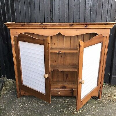 Vintage Reclaimed Pine Dresser Top Plate Rack Display 2 Doors 3 Drawers W130cm