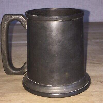Vintage Pewter Half Pint Tankard with Glass Bottom Victorian