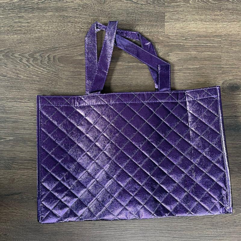 Joy Mangano Reusable Elegant Metallic Tote Gift Bag Sparkly Shiny Bright Purple