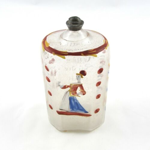 Antique Stiegel Type Glass Enamel Decorated Bride