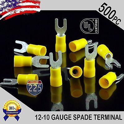 500 Pack 12-10 Gauge Vinyl Spade Fork Crimp Terminals 8 Stud Tin Copper Core Ul