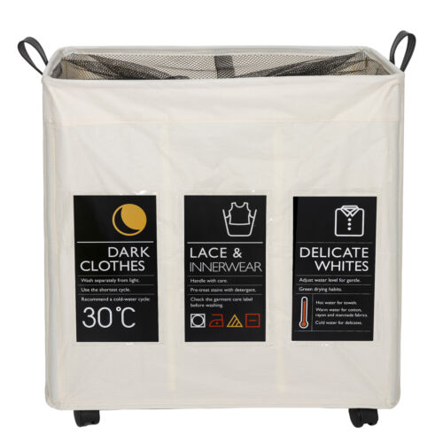 3 Sections Laundry Hamper Basket Sorter Clothes Foldable Bag Bin with Wheels Home & Garden