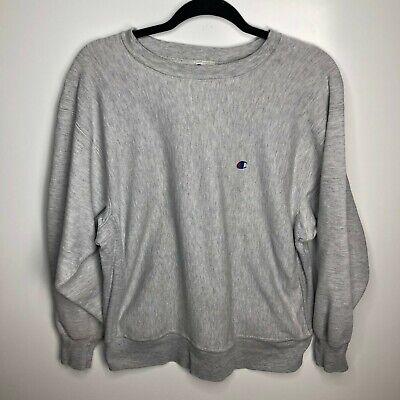 Champion Crewneck Sweatshirt Men's L Gray Reverse Weave Vtg 90s Solid Warmup