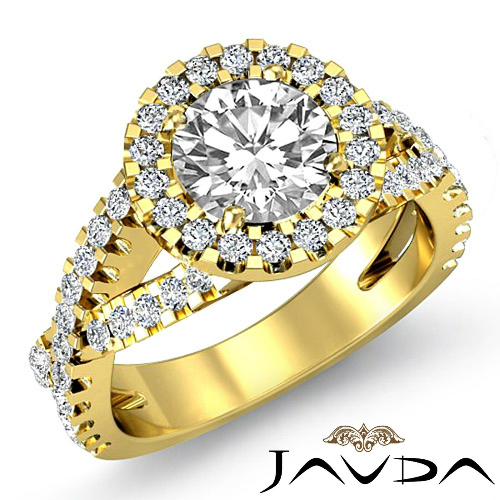 Halo Cross Shank Round Diamond Engagement Prong Set Ring GIA I Color SI1 2.4Ct