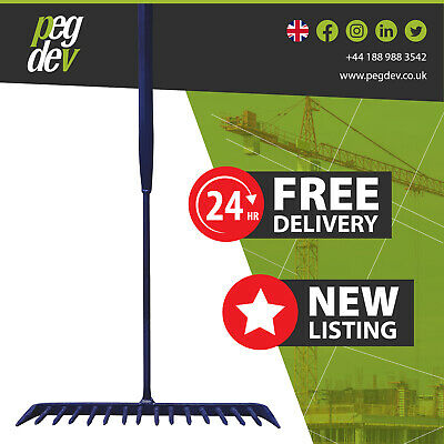 16 TOOTH TUBULAR ALL STEEL TARMAC RAKE - Building Gardening Sand Gravel 1680mm