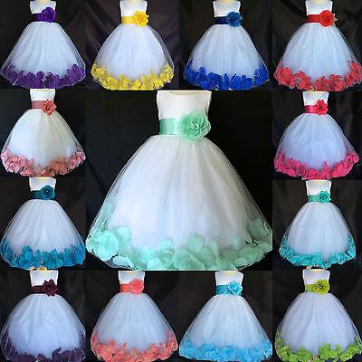 White Flower Girl Bridesmaids Summer Easter Rose Petal Dress 2 4 6 8 10 12 14 16 - Dresses 10-12