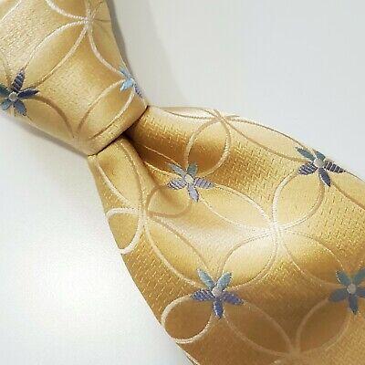 A16) IKE BEHAR Yellow Floral 100% Silk Necktie Made in USA