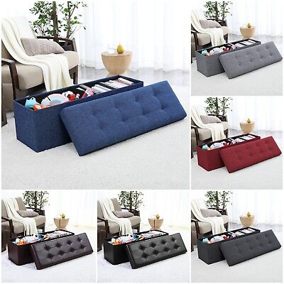 Large Storage Bench (Foldable Tufted Large Storage Ottoman Bench Foot Rest Stool/Seat - 15 x 45 x)