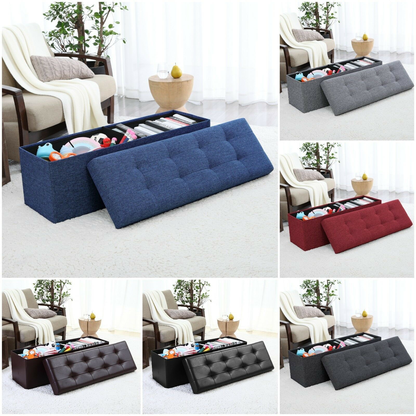 Foldable Tufted Large Storage Ottoman Bench Foot Rest Stool/