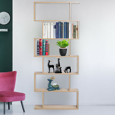 "HOMCOM 75""H Bookcase 6 Shelf S-Shaped Bookshelf Storage Display Stand Organizer"