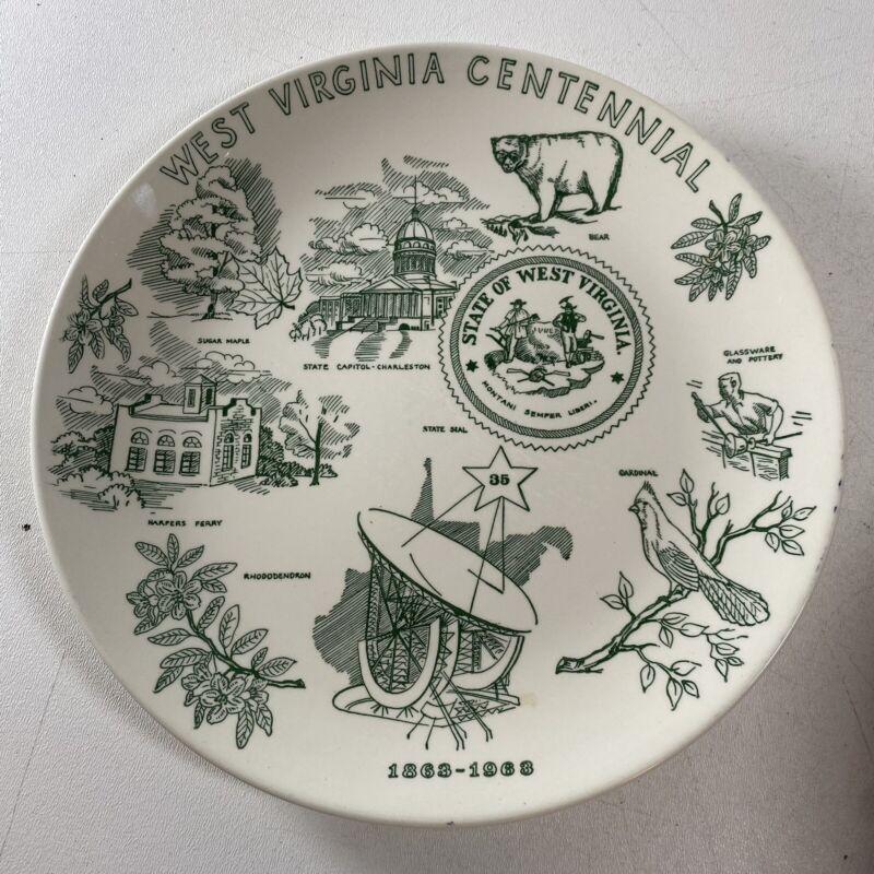 1863-1963 West Virginia Centennial Collector Plate by Homer Laughlin Newell VTG