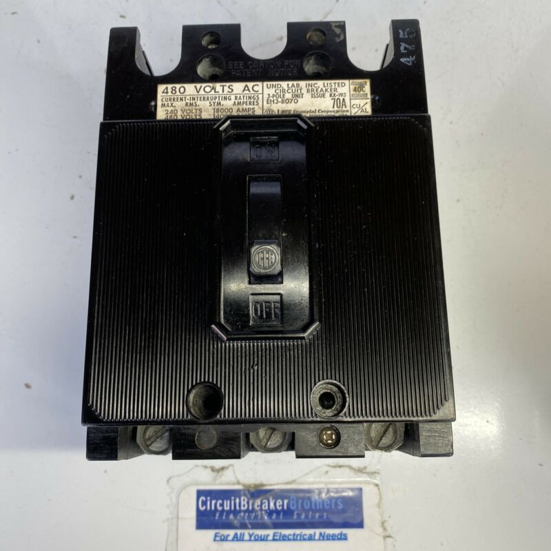 ITE EH3B070, 70 Amp, 480 Volt, 3 Pole, Type EH3 CircuitBreaker- Tested