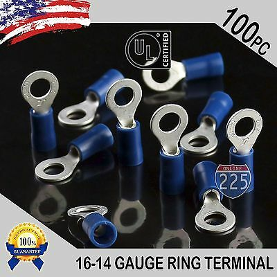 100 Pack 16-14 Gauge 10 Stud Insulated Vinyl Ring Terminals Tin Copper Core Us