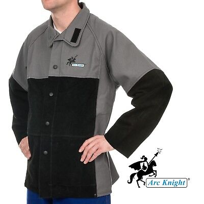 Weldas Arc Knight Heavy Duty Welding Jacket Cotton And Leather Sleeves