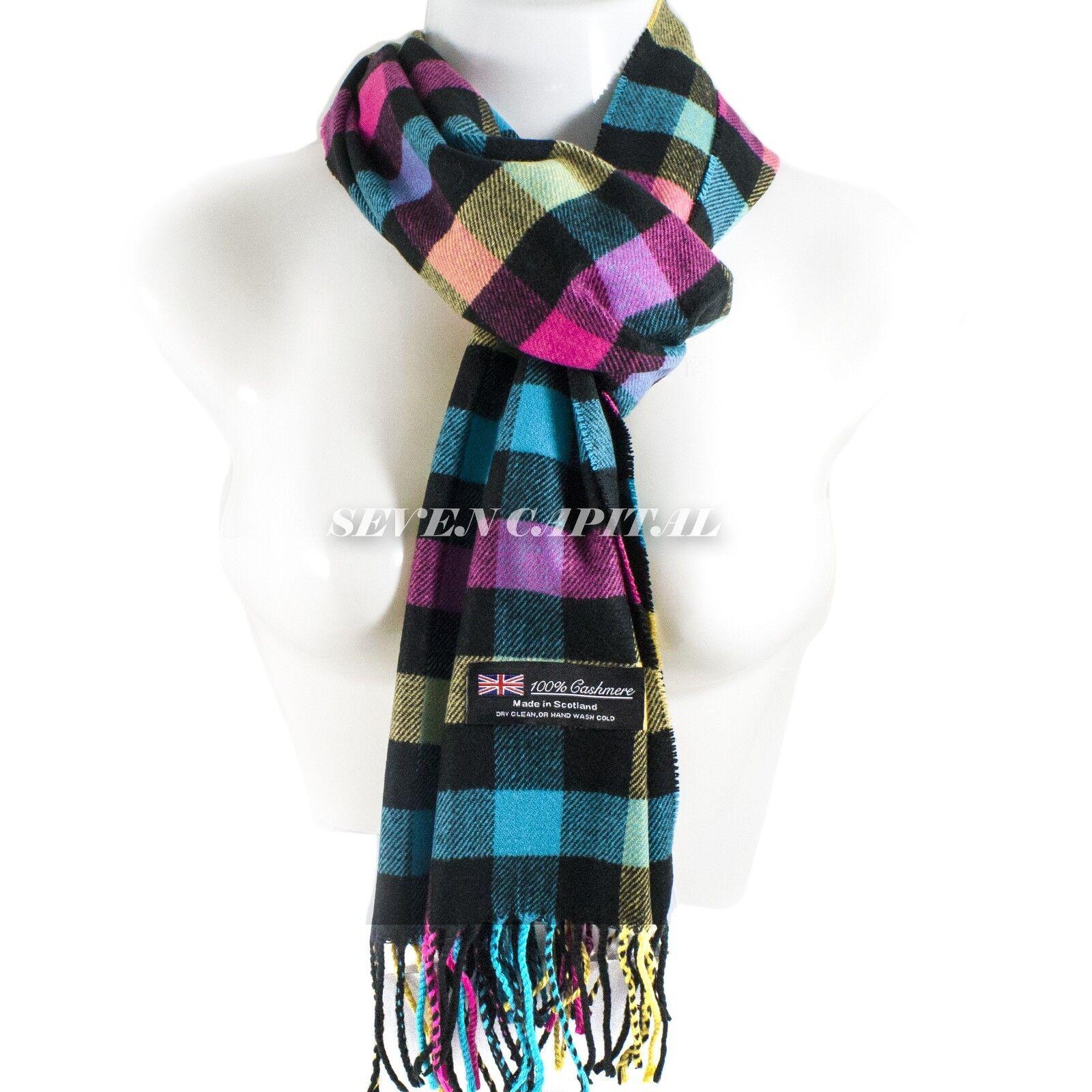 Mens Womens Winter Warm SCOTLAND Made 100% CASHMERE Scarf Scarves Plaid Wool 5. Plaid: Purple/Pink/Blue/Black/Beige