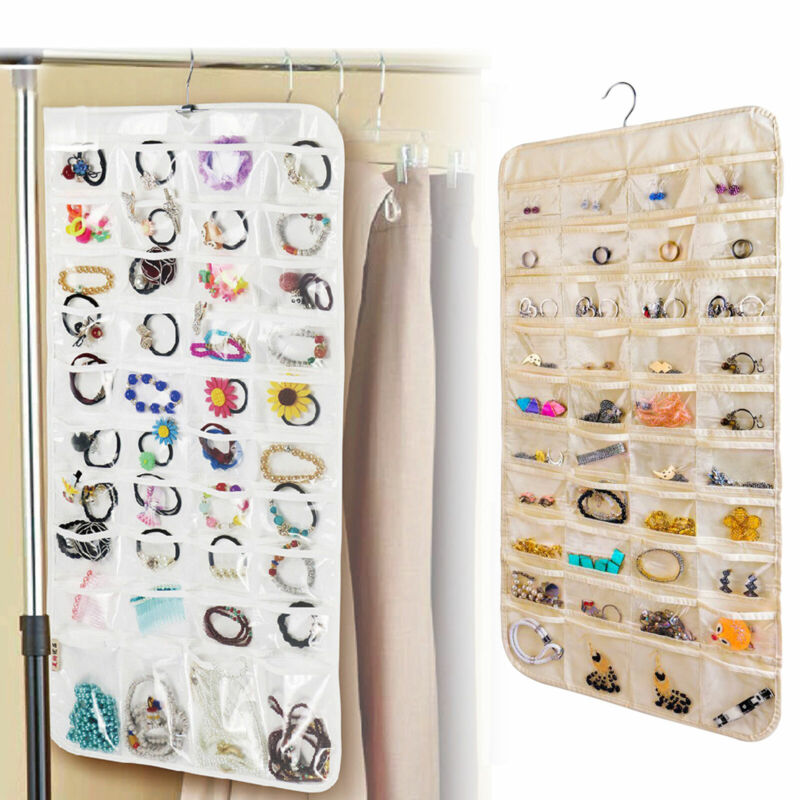80 Pocket Hanging Jewelry Organizer Storage for Holding Earring Jewelries Pouch