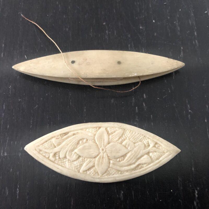 2 Antique Hand Carved Canton Floral Bovine Bone Tatting Shuttle