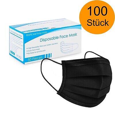 100x OP Masken Schwarz 3-lagig Mundschutz Masken Hygienemaske Einwegmaske Maske