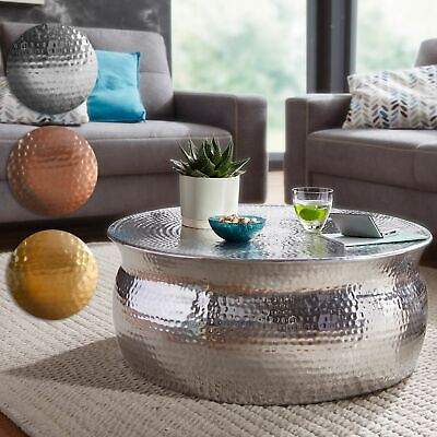 Asiatische Wohnzimmer Beistelltisch (FineBuy Couchtisch Wohnzimmertisch Sofatisch Tisch Rund Ø75 cm Beistelltisch Alu)