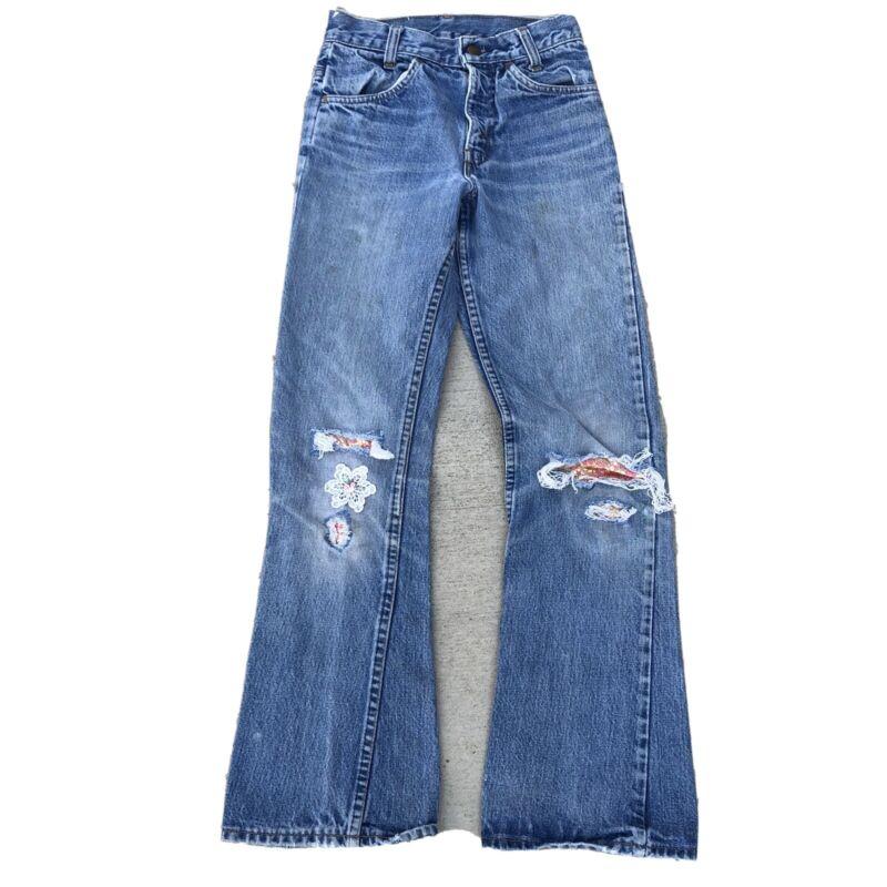 Vintage 1970s Levi's Orange Tab Bell Bottoms Flare Jeans Women's 24x29