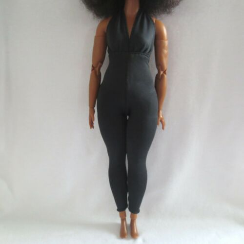 NEW! 2021 Barbie Signature Looks Made To Move Doll Black Jumpsuit Curvy Clothing