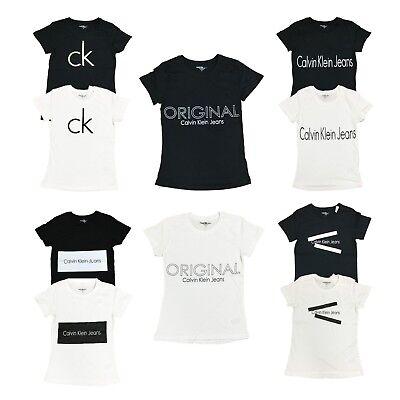 - Calvin Klein Womens CK Logo Crew Neck T-Shirt Short Sleeve Graphic Tee Shirt Top