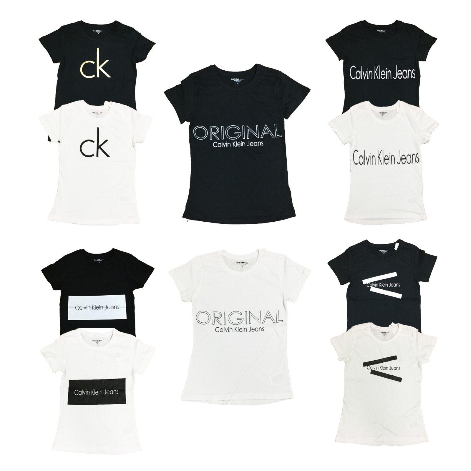 Calvin Klein Womens CK Logo Crew Neck T-Shirt Short Sleeve G