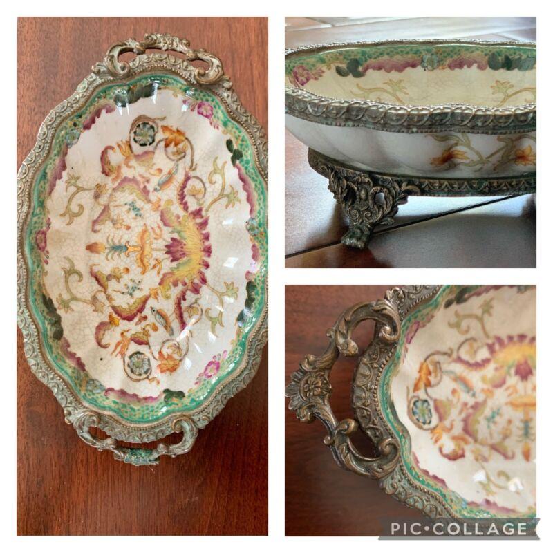 Vintage Hua Rong Tang Zhi Chinese Soap Trinket Dish Brass Clawfoot & Handles
